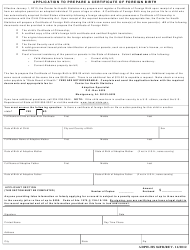 Form ADPH-HS 84FB Application to Prepare a Certificate of Foreign Birth - Alabama