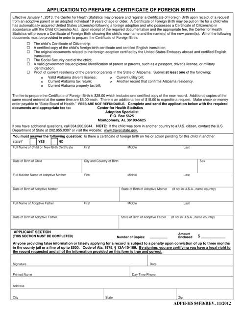 Form ADPH-HS84FB  Printable Pdf