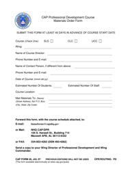"""CAP Form 46 """"CAP Professional Development Course Materials Order Form"""""""