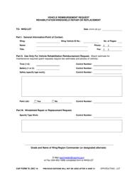 "CAP Form 70 ""Vehicle Reimbursement Request Rehabilitation/Windshield Repair or Replacement"""
