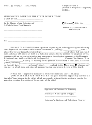 "Form 4 ""Notice of Proposed Adoption"" - New York"