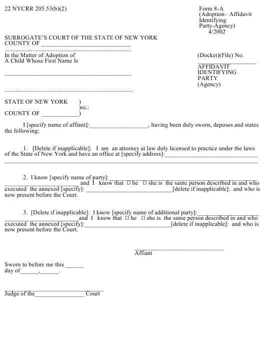 Form 8-A Fillable Pdf