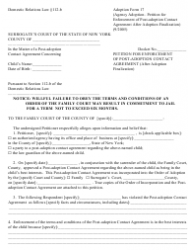 Form 17 Petition for Enforcement of Post-adoption Contact Agreement - After Adoption Finalization - New York