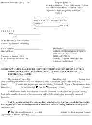 "Form 18 ""Order Determining Petition for Enforcement of Post-adoption Contact Agreement After Adoption Finalization"" - New York"