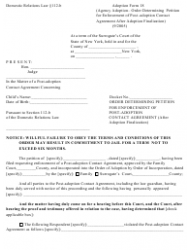Form 18 Order Determining Petition for Enforcement of Post-adoption Contact Agreement After Adoption Finalization - New York