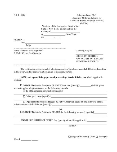 Form 27-E  Printable Pdf