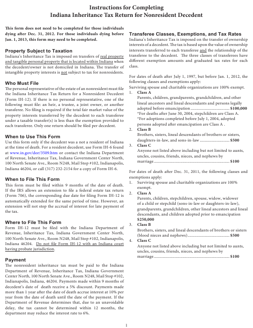 Form IH-12, State Form 51492  Printable Pdf