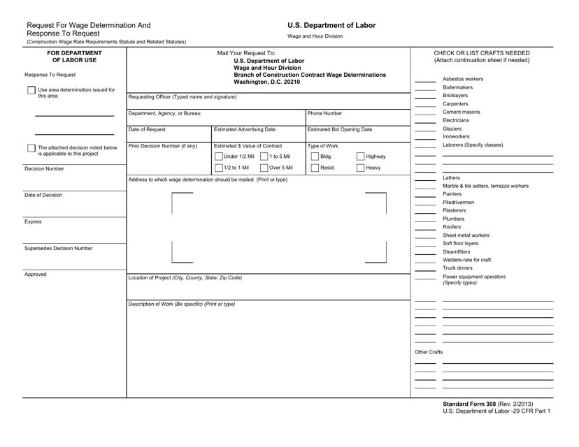 Form SF-308 Fillable Pdf