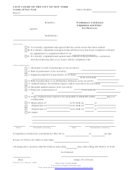 "Form 131 ""Preliminary Conference Stipulation and Order for Discovery"" - County of New York, New York City"
