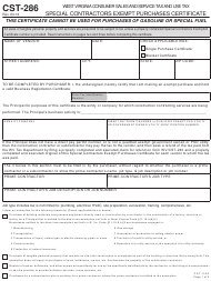 "Form CST-286 ""Special Contractors Exempt Purchases Certificate"" - West Virginia"