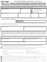 Form CST-286 Special Contractors Exempt Purchases Certificate - West Virginia
