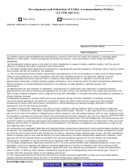"Form FHWA-1560 ""Development and Submittal of Utility Accommodation Policies"""