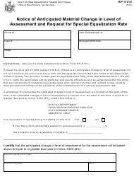"Form RP-6110 ""Notice of Anticipated Material Change in Level of Assessment and Request for Special Equalization Rate"" - New York"