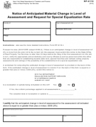 Form RP-6110 Notice of Anticipated Material Change in Level of Assessment and Request for Special Equalization Rate - New York