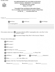 Form RP-6800 Transmittal Tape and Diskette Information Report for Use in Filing Assessment Roll and Assessor's Report Data - New York