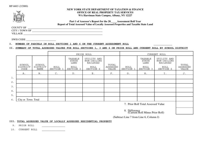Form RP-6603  Printable Pdf