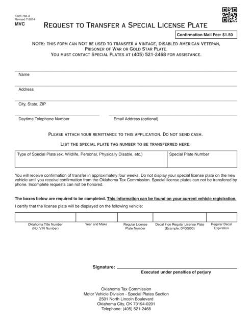 OTC Form 783-A  Printable Pdf