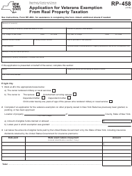"Form RP-458 ""Application for Veterans Exemption From Real Property Taxation"" - New York"