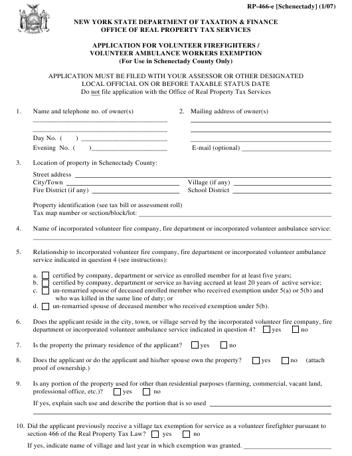 Form RP-466-E [SCHENECTADY] Printable Pdf