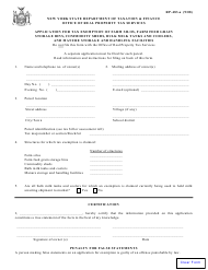 Form RP-483-a Application for Tax Exemption of Farm Silos, Farm Feed Grain Storage Bins Commodity Sheds, Bulk Milk Tanks and Coolers, and Manure Storage and Handling Facilities - New York