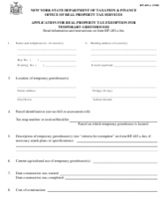 Form RP-483-c Application for Real Property Tax Exemption for Temporary Greenhouses - New York