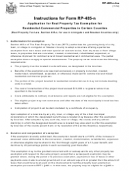 Instructions for Form Rp-485-n - Application for Real Property Tax Exemption for Residential-Commercial Properties in Certain Counties