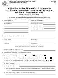 Form RP-485-P Application for Real Property Tax Exemption on Commercial, Business or Industrial Property in an Economic Transformation Area - New York