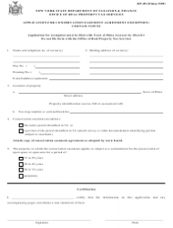 Form RP-491 ELMA Application for Conservation Easement Agreement Exemption. Certain Towns - New York