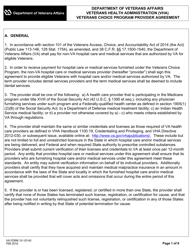 VA Form 10-10145 Veterans Choice Program Provider Agreement