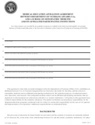 VA Form 10-0094B Medical Education Affiliation Agreement Between Department of Veterans Affairs (VA), and a School of Osteopathic Medicine and Its Affiliated Participating Institutions
