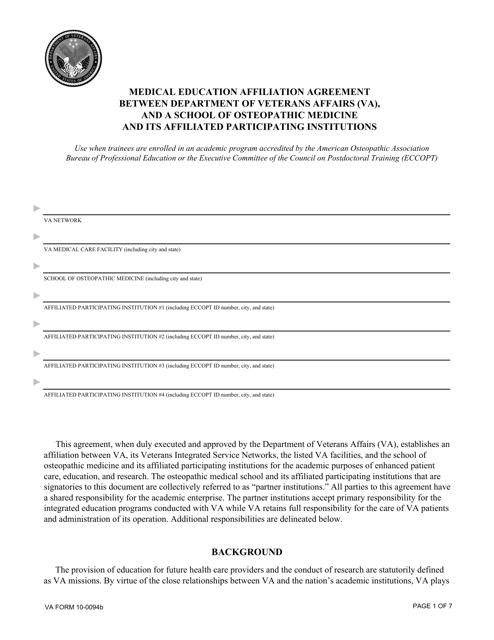 VA Form 10-0094B Fillable Pdf