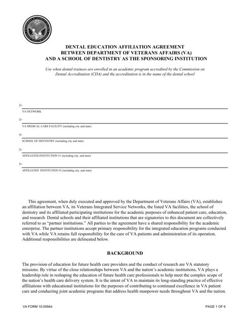 VA Form 10-0094D Fillable Pdf