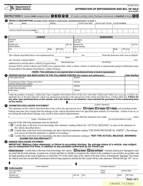 Form MV-950  Printable Pdf