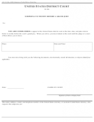 Form AO 110 Subpoena to Testify Before a Grand Jury