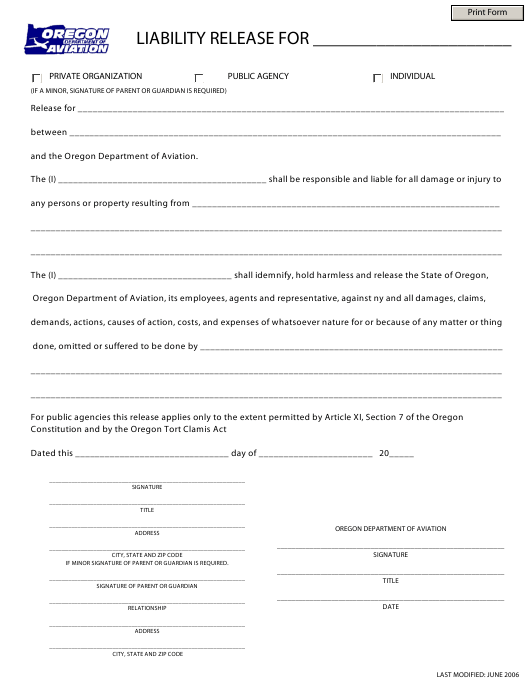 """Liability Release Form"" - Oregon Download Pdf"