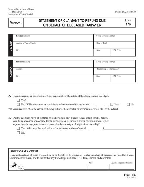 VT Form 176  Printable Pdf