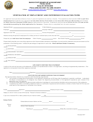 Verification of Employment and Experience Evaluation Form - Idaho