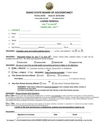 License Renewal - Idaho