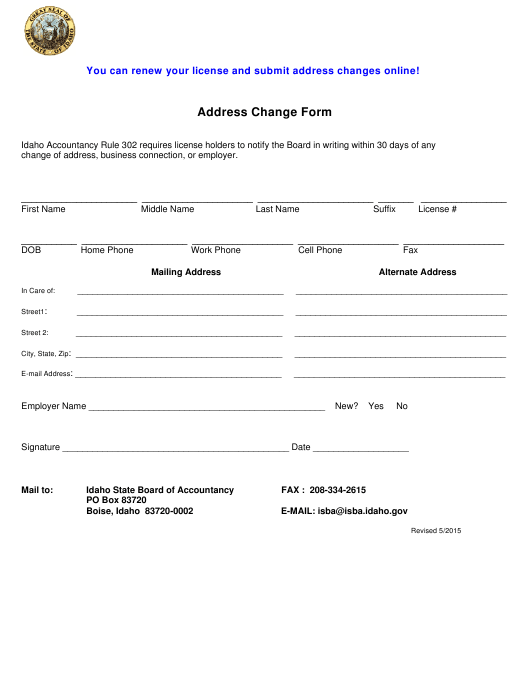 Address Change Form Download Printable PDF | Templateroller