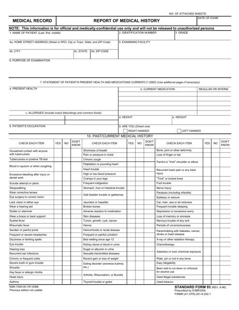 GSA Form SF-93 Printable Pdf
