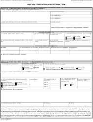 "Form MC05 ""Military Verification and Referral Form"" - California"