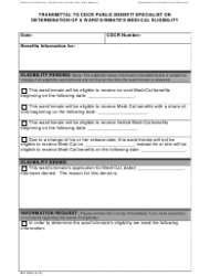 Form MC 0025 Transmittal To Cdcr Public Benefit Specialist On Determination Of A Ward's/inmate's Medi-cal Eligibility - California