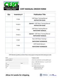 Cert Manual Order Form