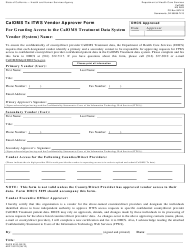 Form DHCS 5100 Caloms Tx Itws Vendor Approver Form for Granting Access to the Caloms Treatment Data System - California