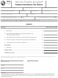 "Form IH-6 ""Indiana Inheritance Tax Return"" - Indiana"