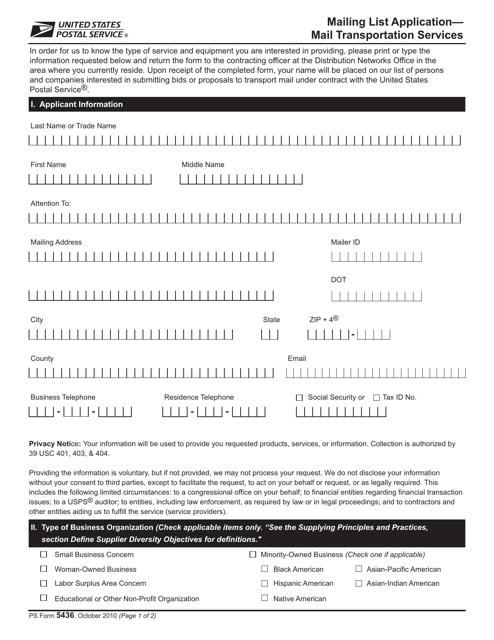 PS Form 5436  Printable Pdf