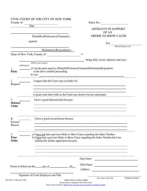 Form CIV-GP-13  Printable Pdf