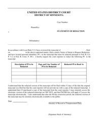 """Statement of Redaction"" - Minnesota"