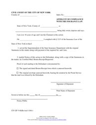 "Form CIV-GP-74-B ""Affidavit of Compliance With the Insurance Law"" - New York City"