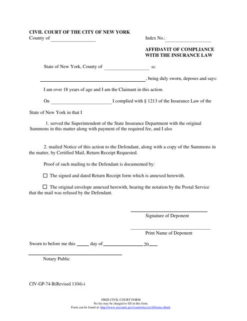 Form CIV-GP-74-B Download Fillable PDF, Affidavit of